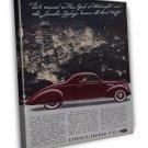 Vintage Lincoln Zephyr Car Ad Art 16x12 Framed Canvas Print