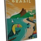 Brazil Vintage Travel Image 16x12 Framed Canvas Print