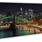 New York City Night Cityscape Art 20x16 Framed Canvas Print Decor