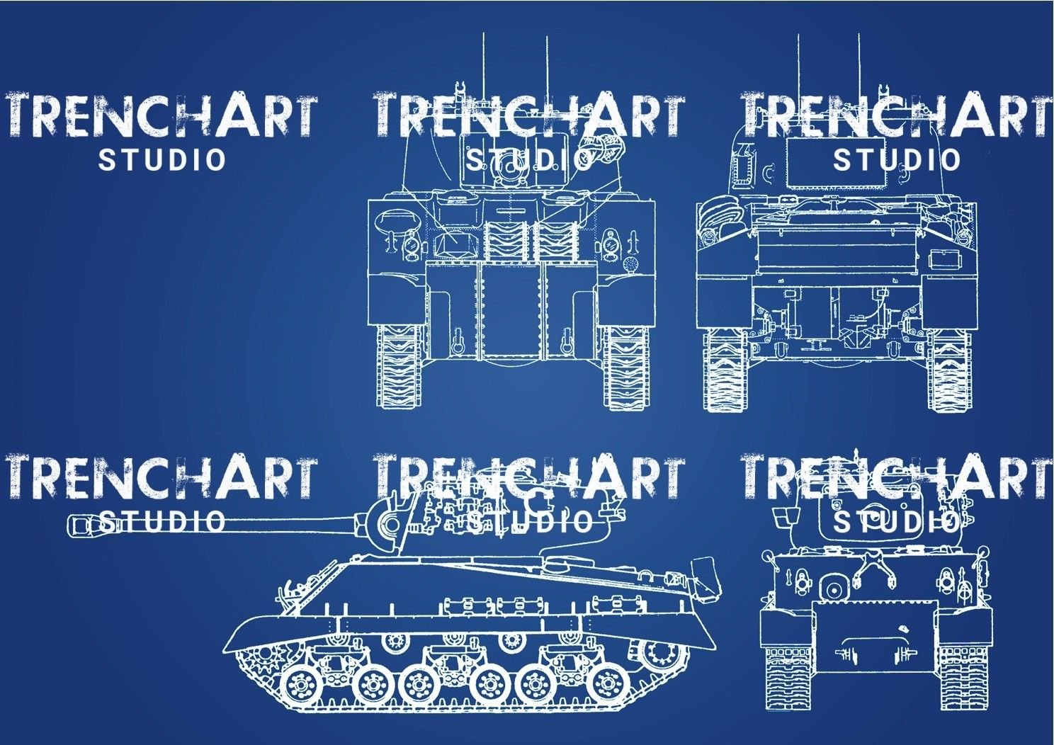 WW2 Poster M4 Sherman vintage drawing patent print military armor decor  tank art