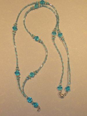 LIGHT BLUE crystal, bugle bead, silver  lanyard