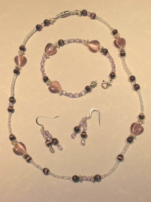 Purple heart necklace, bracelet, & earring set