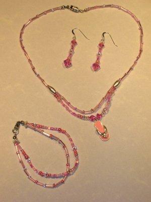 PINK swarovski crystal flip flop pendant necklace set