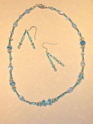 Light Blue Swarovski Crystal, Silver and Bugle beads necklace set