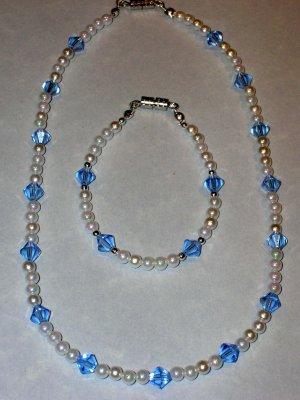 Child's necklace & bracelet set pearls & lt. blue swarovski