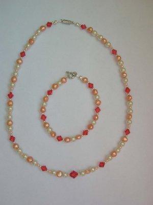 Princess Laura - Padparadscha & freshwater pearls