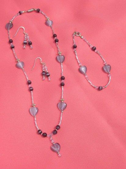 Purple heart drop necklace, bracelet, & earring set