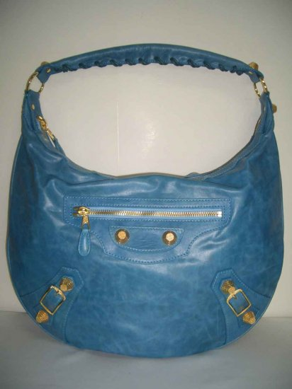 Balenciaga Day Hobo with Giant Gold Hardware - Blue
