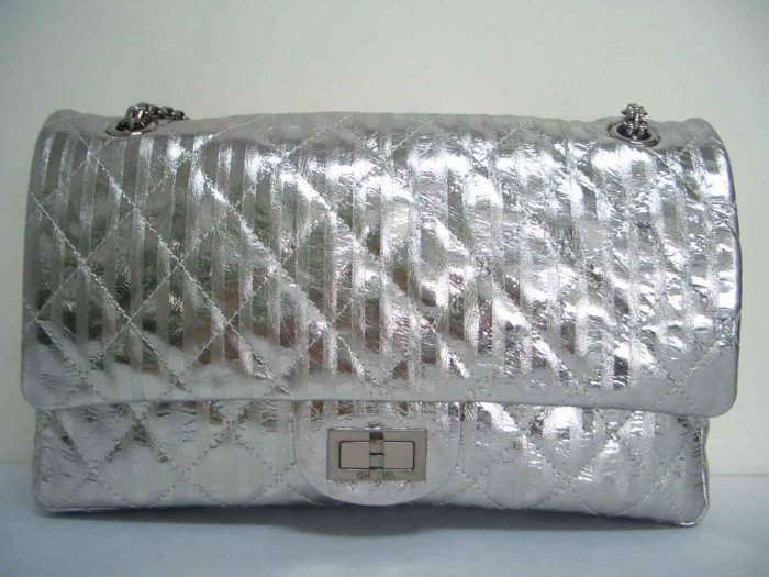 Chanel Striped Classic Handbag - Silver