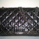 Chanel Striped Classic Handbag - Black