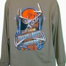 Rugged Earth Outfitters LS Light Brown Deer T-Shirt Hunting Fishing Sz L NWOT