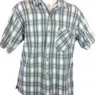 Bugle Boy Co Mens Beige Plaid Short Sleeve Textured Button Front Shirt Sz M