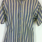 DAVID TAYLOR Men's Beige/ Blue Short Sleeve Button Front Shirt Sz Large