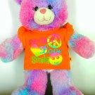 """BUILD A BEAR 17"""" Tye-Dye Plush Bear Wearing Colorful Peace, Love, Smile Shirt"""
