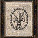 Fleur-de-lis Art Print on Antique Book Page Vintage Illustration