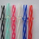"11"" - 6 Reusable Straws Swirly Color Hard Plastic Acrylic Rings BPA Free #5"