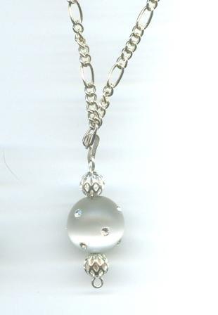 White Cat's Eye Fireball Necklace