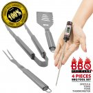 Deluxe BBQ Utensils Gift Set: Spatula, Tongs, Fork, Thermometer