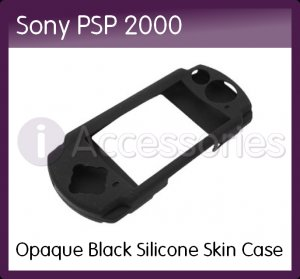 Opaque Black Silicone Skin Case for the Sony PSP 2000