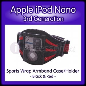 Red+Black Sports Wrap Armband Case/Holder for the Apple iPod Nano (3rd Generation)