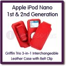 Griffin Trio 3-in-1 Interchangeable Red Leather Case for Apple iPod Nano 1st & 2nd Generation