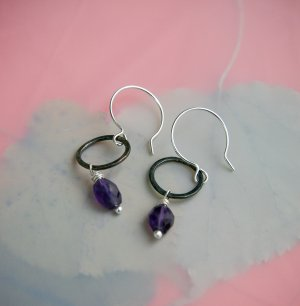 Handmade Amethyst and Sterling Silver earrings