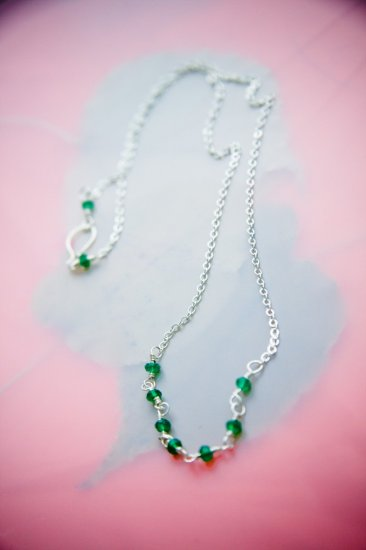 Handmade Green aventurine and sterling silver necklace