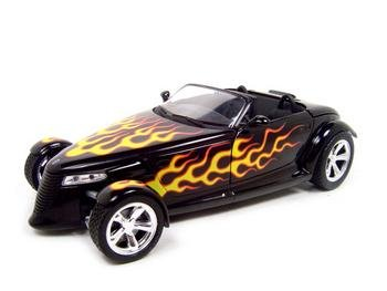 PLYMOUTH PROWLER BLACK W/FLAMES 1:18 DIECAST MODEL