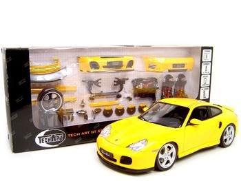 PORSCHE 911 TURBO YELLOW W/PARTS 1:18 DIECAST MODEL