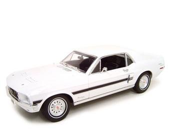 1968 FORD MUSTANG GT WHITE 1:18 DIECAST MODEL