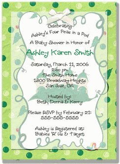 """Four Peas in a Pod"" Quadruplets Baby Shower Invitations - Personalized"