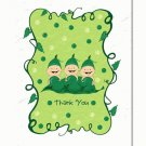 """Three Peas in a Pod"" Triplets Baby Shower Thank You Cards"