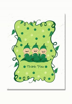 """""""Three Peas in a Pod"""" Triplets Baby Shower Thank You Cards"""