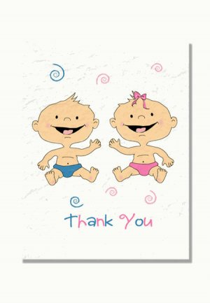 """Twin Babies"" Twin Baby Shower Thank You Cards (Blue, Pink, or Both)"