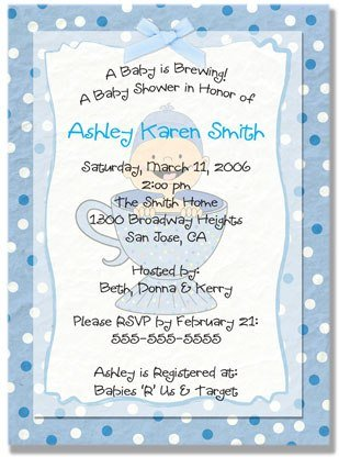 """Baby is Brewing"" Baby Shower Invitation - Personalized Invitations (Blue, Pink, or Purple)"