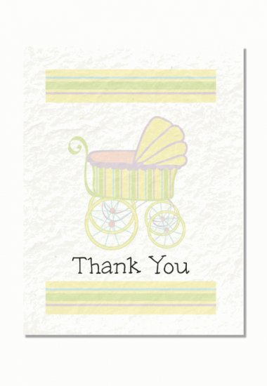 """Baby Carriage"" Baby Shower Thank You Cards"