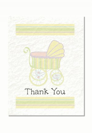 """""""Baby Carriage"""" Baby Shower Thank You Cards"""