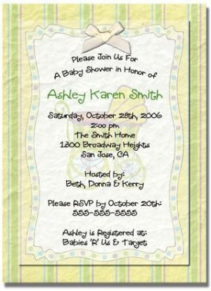 """""""Baby Carriage"""" Baby Shower Invitation - Personalized Invitations"""