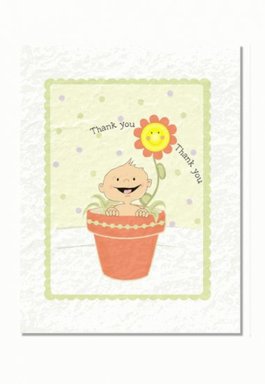 """""""A Baby is Blooming"""" Baby Shower Thank You Cards"""