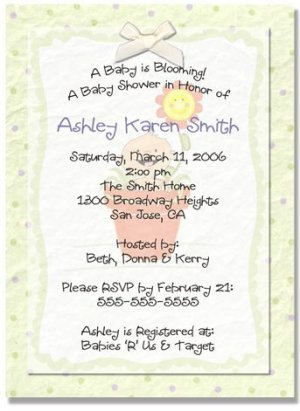 """""""A Baby is Blooming"""" Baby Shower Invitation - Personalized Invitations"""