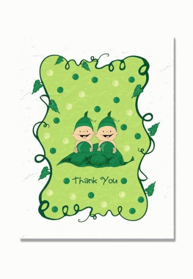 """""""Two Peas in a Pod"""" Twins Baby Shower Thank You Cards"""