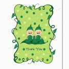 """Two Peas in a Pod"" Twins Baby Shower Thank You Cards"