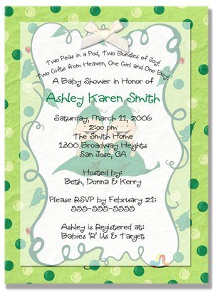 """Two Peas in a Pod"" Twins Baby Shower Invitation - Personalized Invitations"