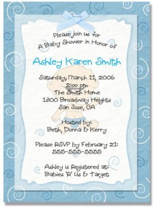 """New Baby"" Baby Shower Invitation - Personalized Invitations (Blue, Pink, or Green)"