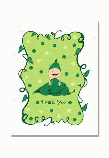 """Sweet Pea"" Baby Shower Thank You Cards"