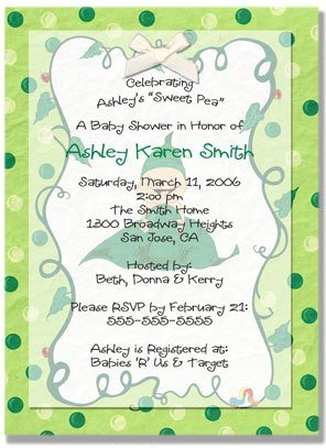 """""""Sweet Pea"""" Baby Shower Invitation - Personalized Invitations"""