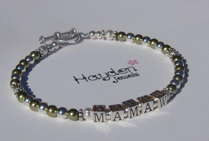 Mamaw Nana Grandma Mom MotherSterling Silver and Green Swarovski Crystal Pearl Bracelet