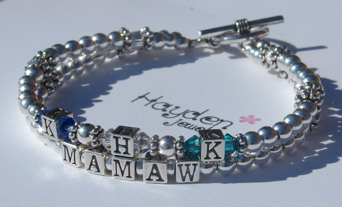 2 Strand Custom Name Sterling Silver Bracelet with Swarovski Crystal Birthstones and Initials