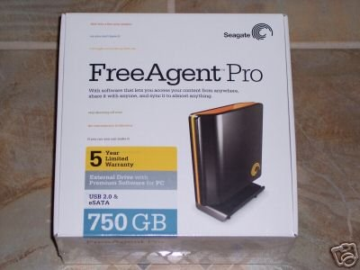 Seagate FreeAgent Pro 750GB USB 2.0 / e-SATA External Hard Drive HD -- Free Shipping