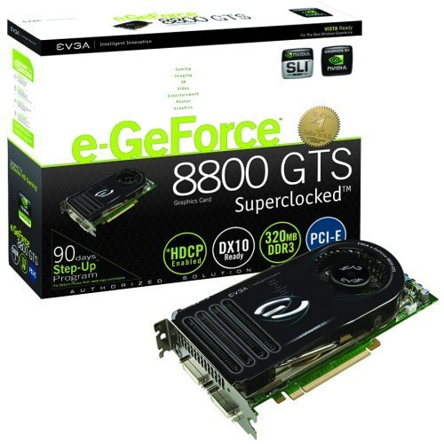 EVGA GeForce nVidia 8800GTS 320MB 320bit GDDR3 PCI Express 2.0 x16 Video Card -- Free Shipping